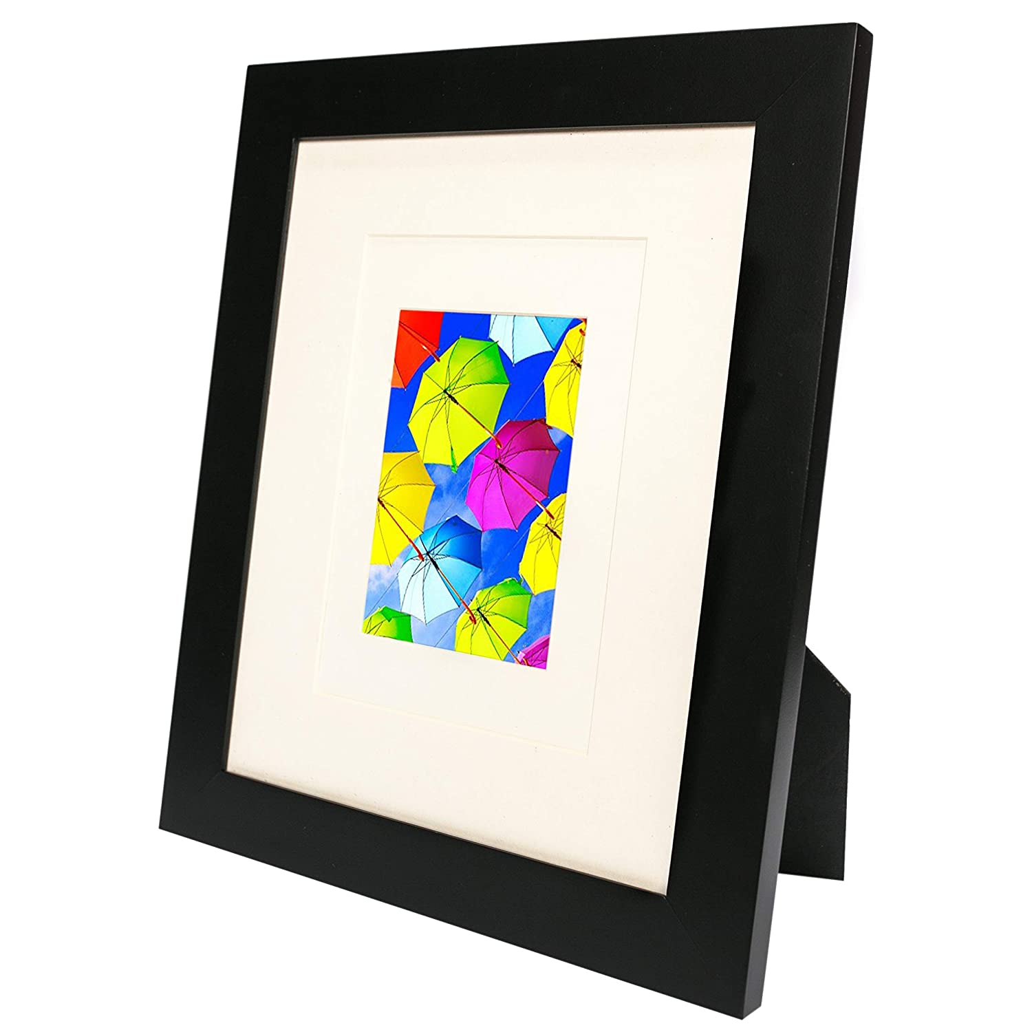 SpoiledHippo 10x13 Picture Frame Black (1 Pack) - Made of Solid Wood with Glass Cover - for Display of 10 by 13 Inch Photos w/o Mat or 8x10 and 5x7 with Mats - Wall and Tabletop - Hanging or Standing