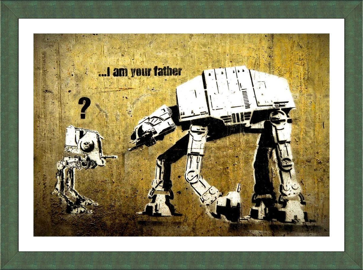 Amazon.com: Alonline Art - Star Wars Robot I Am Your Father Banksy ...