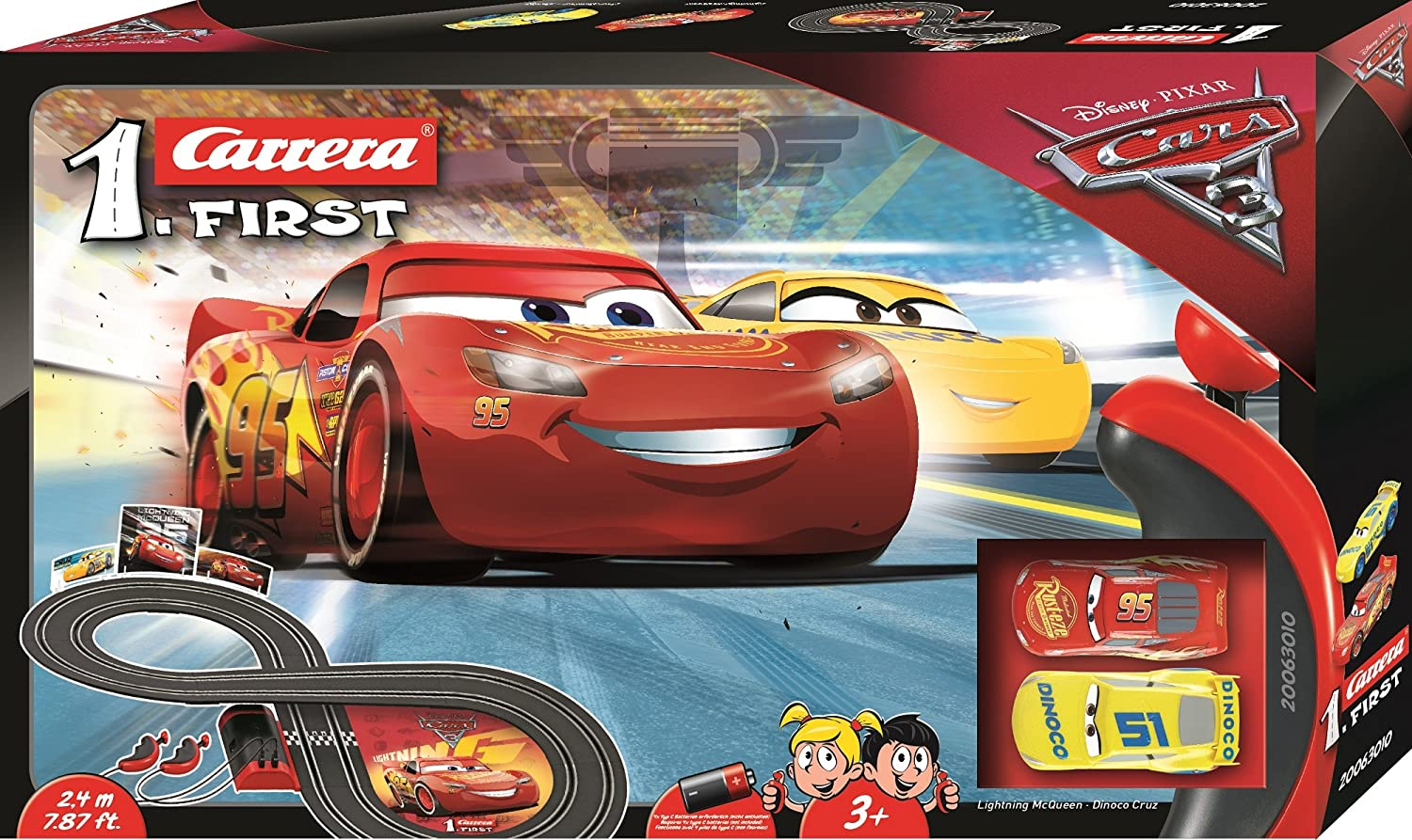 Amazon.com: Carrera First Disney/Pixar Cars 3 - Slot Car Race Track -  Includes 2 cars: Lightning McQueen and Dinoco Cruz - Battery-Powered  Beginner Racing ...