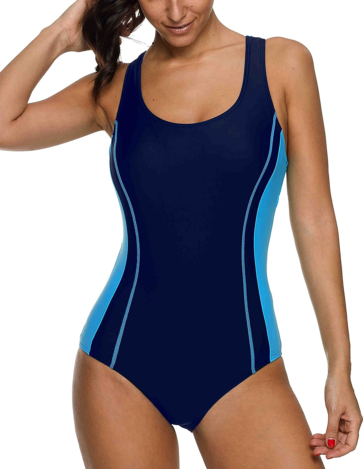 beautyin Women's One Piece Athletic Racerback Swimsuit Slimming Bathing Suit