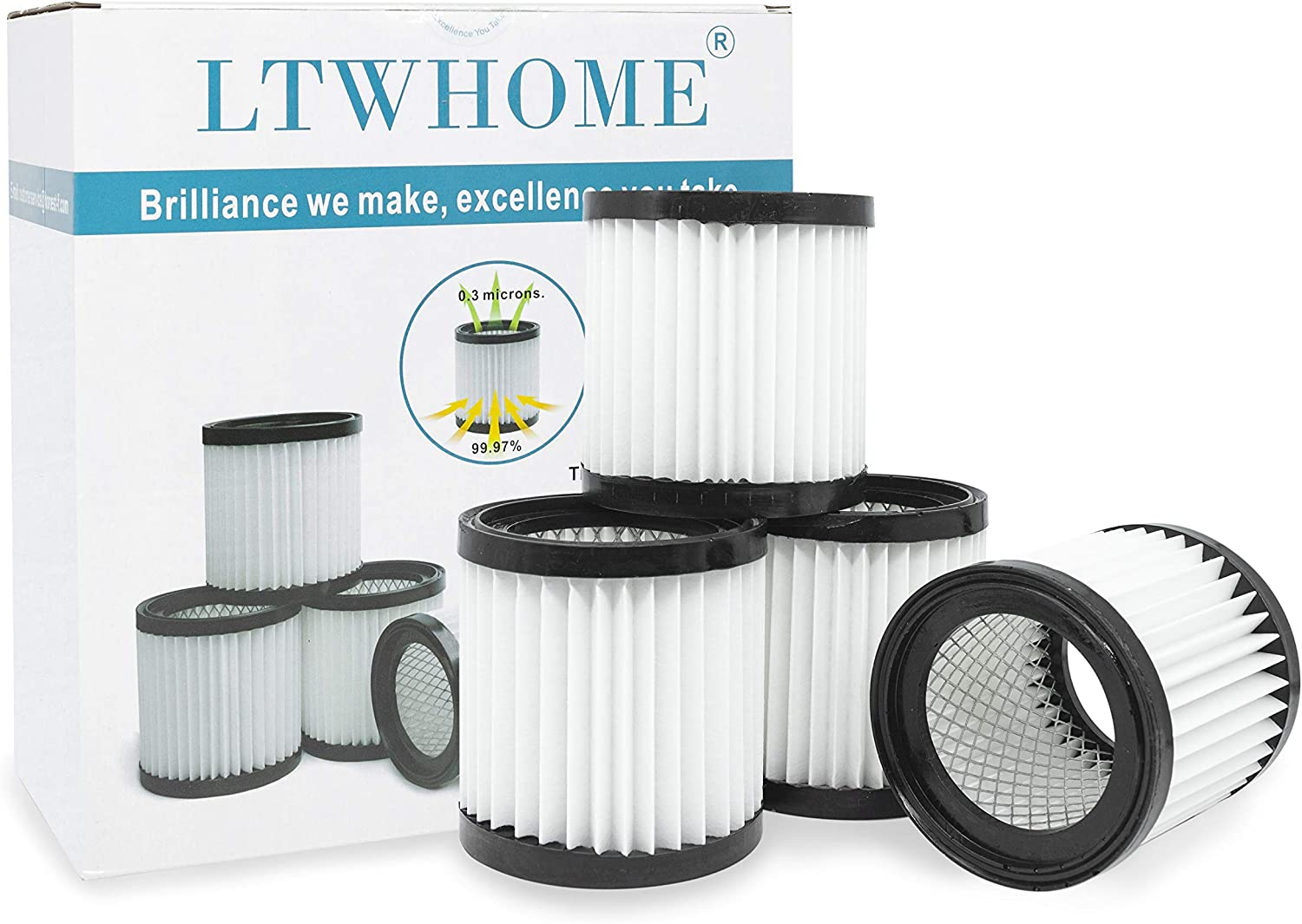 LTWHOME Replacement Ash Vacuum HEPA Filter Fit for Hearth Country Ash Vacuum FCP3552816 Part 411(Pack of 4)