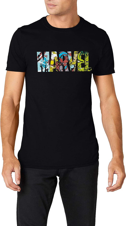 Marvel Comic Strip Logo T-Shirt Camiseta para Hombre