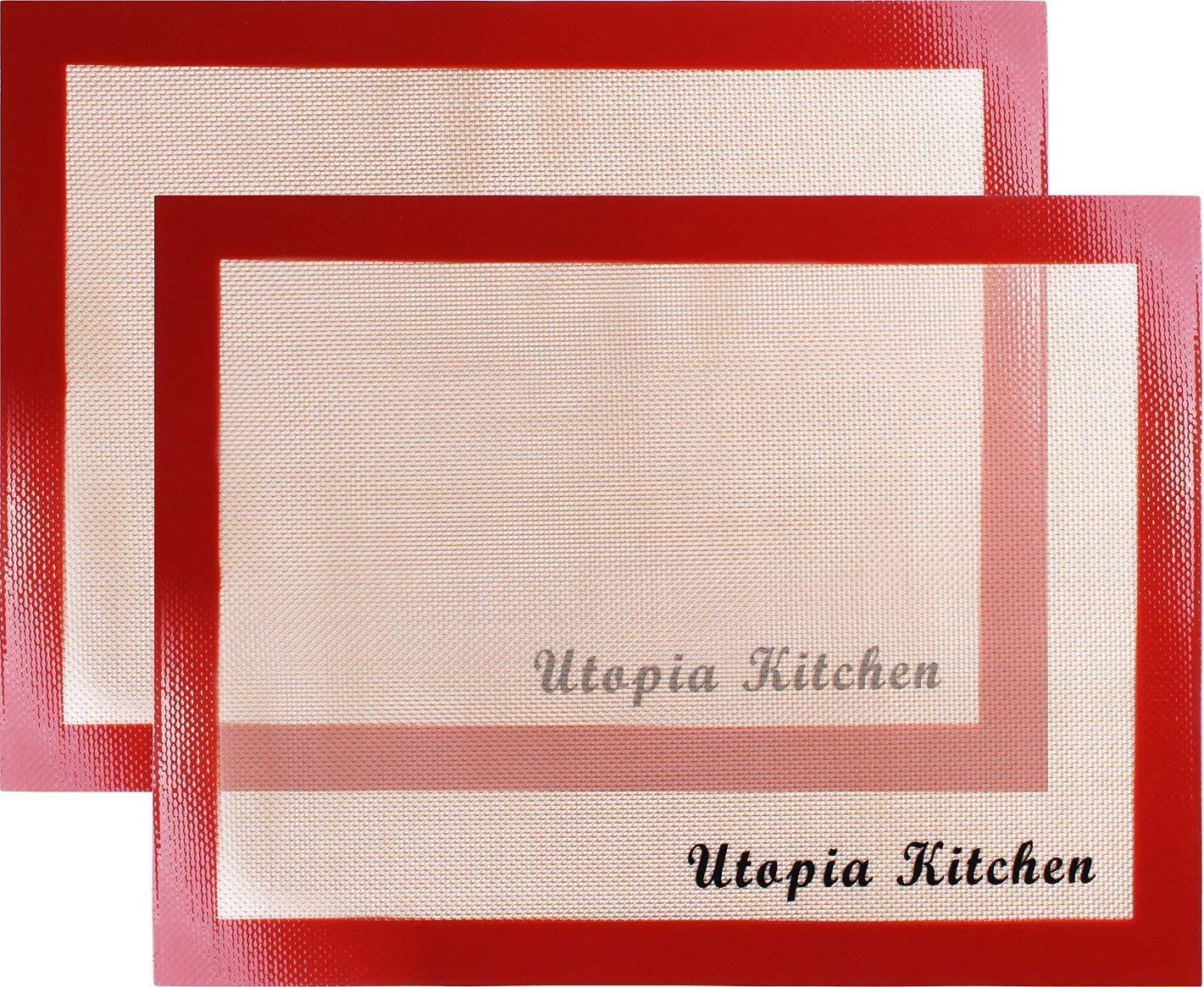 Utopia Kitchen Silicon Mat for Baking and Cooking - 2 Pack Red - Professional Grade Non-Stick Best for Cookies, Pizzas, Pretzels and More UK0096