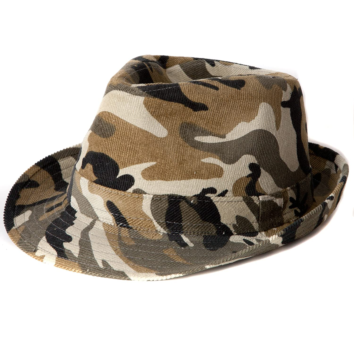 Accessoryo Unisex 58cm Military Khaki Camo Corded Design Trilby Hat