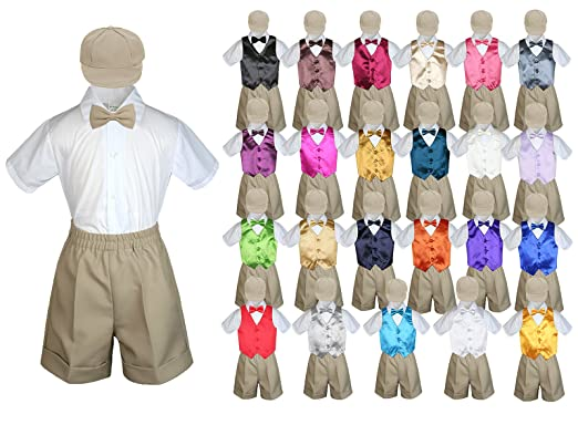 3fdbdea6e Amazon.com: Leadertux Baby Kid Toddler Boy Formal Suit Khaki Shorts Shirt  Hat Bow tie Vest Set Sm-4T: Clothing