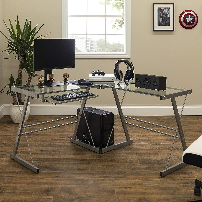 Walker Edison Furniture Company Modern Corner L Shaped Glass Computer Writing Gaming Gamer Command Center Workstation Desk Home Office, Single, Silver