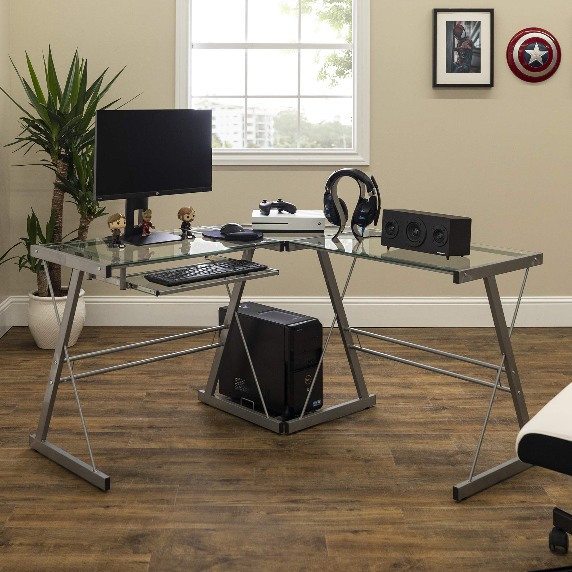 Walker Edison Ellis Modern Glass Top L Shaped Corner Gaming Desk with Computer Keyboard Tray, 51 Inch, Silver