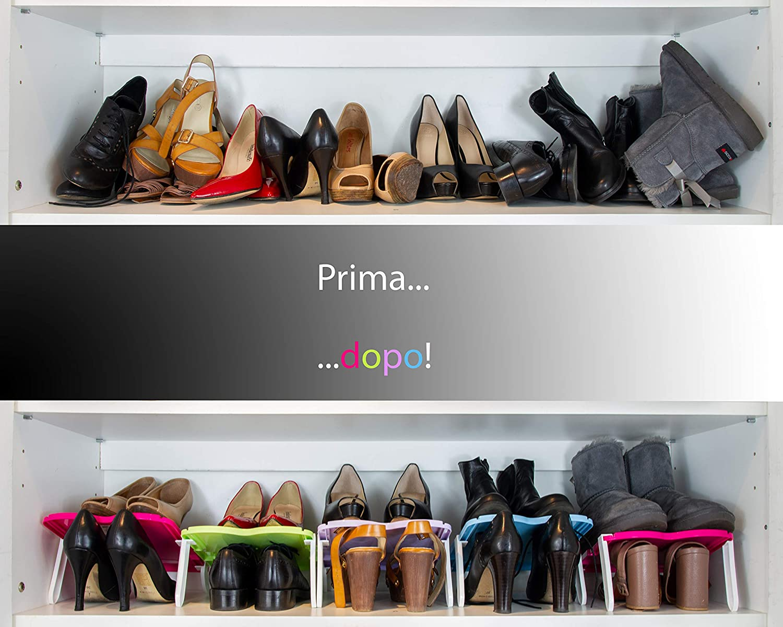 Picpictoo Portascarpe Salvaspazio Regolabili Shoes Rack Organizer Scaffale Scarpiera Plastica Organizzatore Porta Scarpe Ordina Armadio