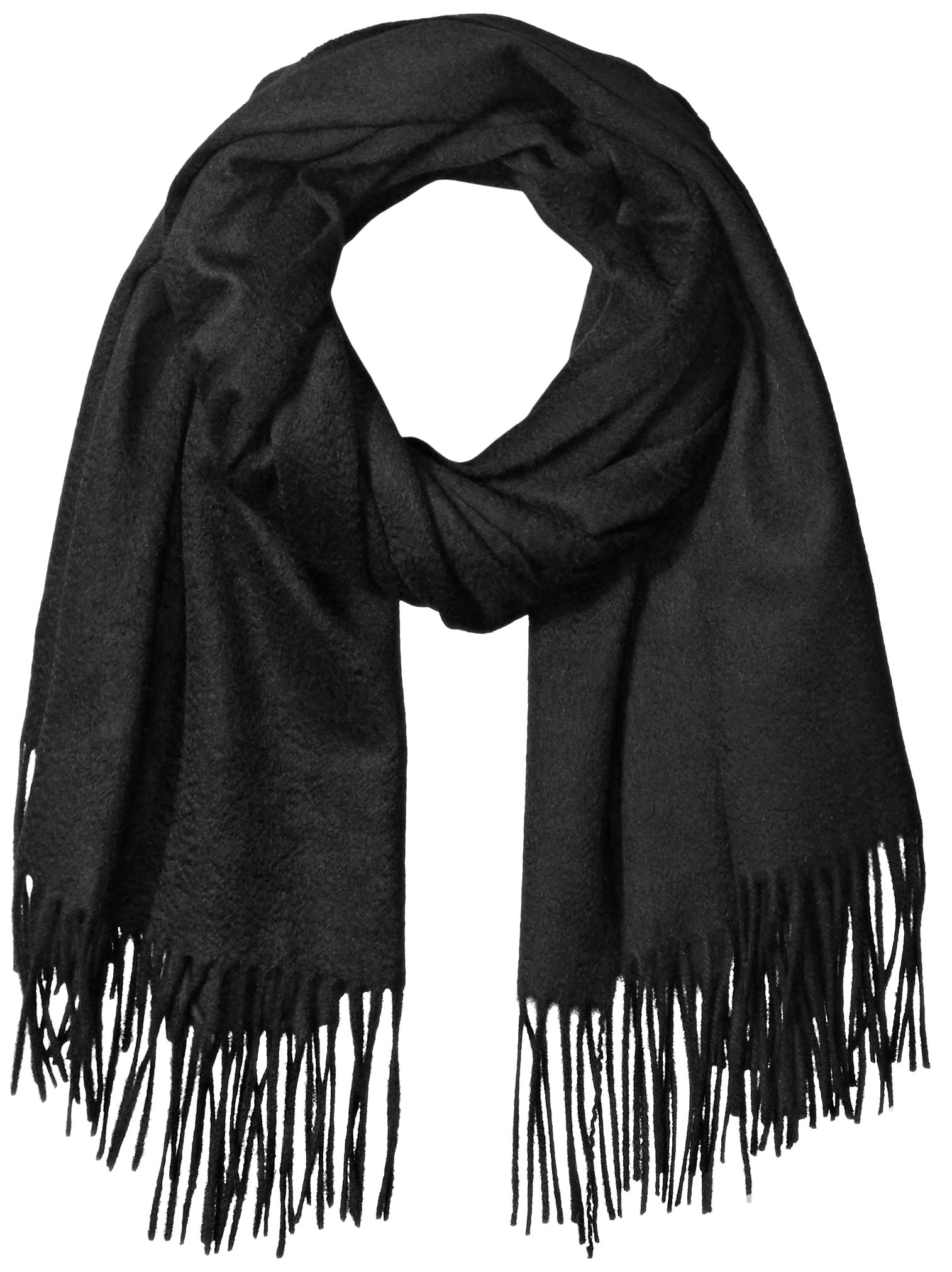 Sofia Cashmere Women's 100% Cashmere Fringed Stole Scarf, Black, One Size by Sofia Cashmere