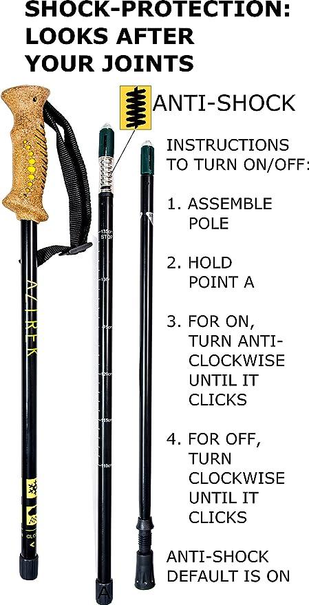 Aluminio Caminatas N/órdicas Excursionismo con Accesorios Puntas de Goma Ligeras para Alpinismo y Escalada para Hombres y Mujeres Aztrek Par de Bastones de Senderismo Trekking Esqu/í Ajustables