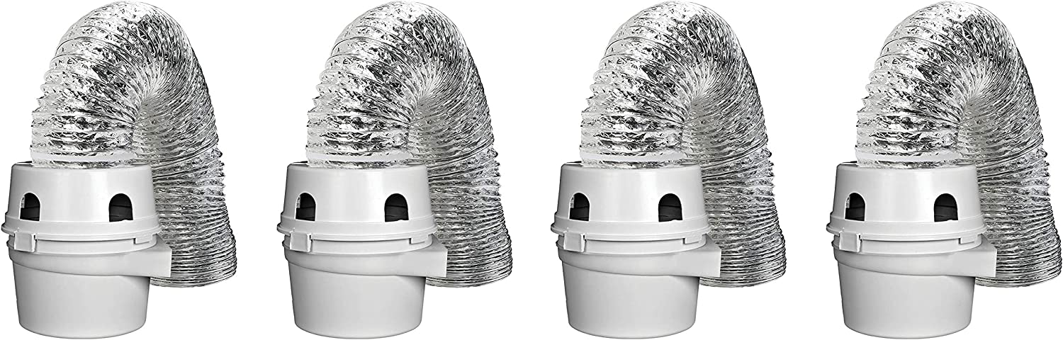 White Dundas Jafine TDIDVKZW Indoor Dryer Vent Kit with 4-Inch by 5-Foot Proflex Duct 4 Inch Single Pack