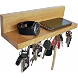 Brooklyn Basix Premium Magnetic Wood Key Ring Holder and Shelf for Mail, Letter, Phone, Wallet, Sunglasses Wall Mounted Organizer Perfect for Mudroom, Entryway, Foyer, Kitchen (Natural)