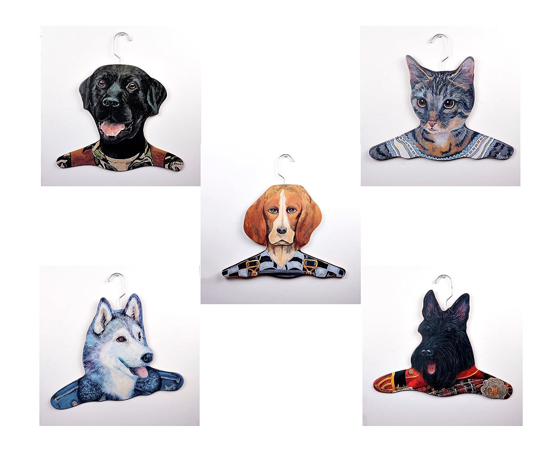 The Stupell Home Decor Collection 5Pack Animal Clothing Hanger Greyhound//Teacher Yellow Lab//Chef Bassett House//Salesman Doberman//Pilot Cat