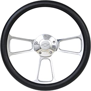 Black Steering Wheel 14 Inch Aluminum with Chevy Installation Adapter and Horn