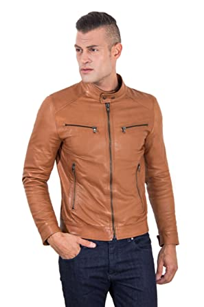 a9682c1ac Hamilton - Tan Vintage Effect Lamb Leather Jacket Four Pockets ...