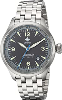 Zodiac Mens Jetomatic Swiss-Automatic Watch with Stainless-Steel Strap, Silver, 20