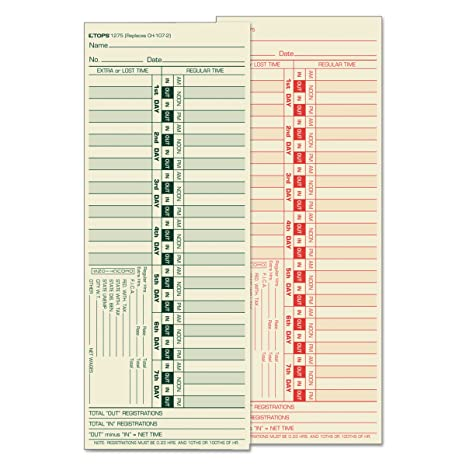 TOPS 1275 Time Card For Lathem Bi Weekly Two Sided 3
