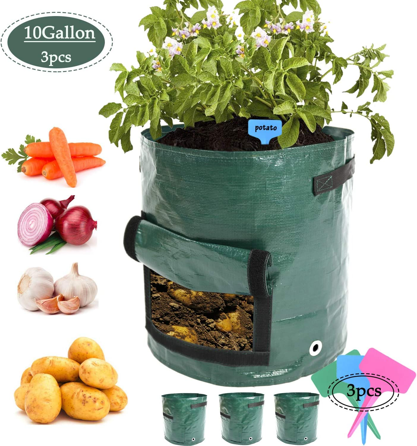 3pcs 10Gallon Potato Planter Bag,Garden Planting Grow Bags with Access Flap for Harvesting,Vegetable Planter Holes for Drainage,Durable Planter Bags with Handles for Vegetables 3, Dark Green-2
