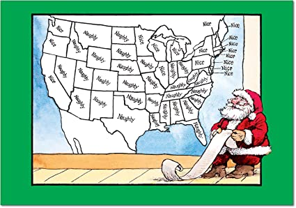 12 'Naughty Nice Map' Boxed Christmas Cards with Envelopes 4.63 x 6.75 on oolitic map, oats map, tell city map, gulf of antalya on a map, headless horseman map, splashin safari map, santa and his reindeer, north pole map, track santa map, christmas map,