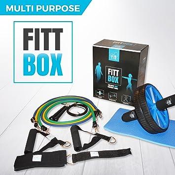 FITTBOX - Juego de gimnasio multiusos de alta calidad con 3 bandas de resistencia, rueda abdominal (con ...