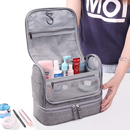 8efce7f23fb7 BEILIAN Travel Toiletry Bag Double Layer Hanging Organizer Bag With  Waterproof Compartment Makeup...