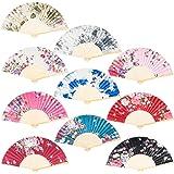 EAONE 10 Pieces Floral Folding Fan Silk Hand Folding Fan, Vintage Handheld Fan, Chinese Style Fabric Folding Fan with…