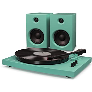 Crosley T100 2-Speed Bluetooth Turntable System with Stereo Speakers, Turquoise