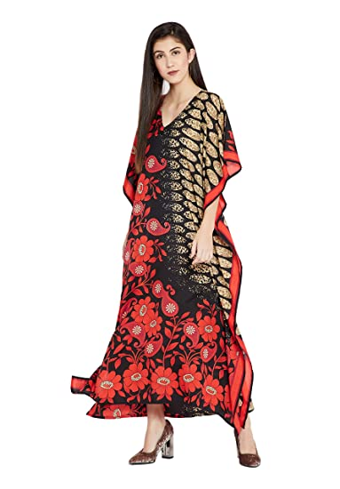 52ce4d699f Image Unavailable. Image not available for. Color: Goood Times Red & Black  Floral Paisley Long Kaftan Kimono Maxi Dress Plus Size ...
