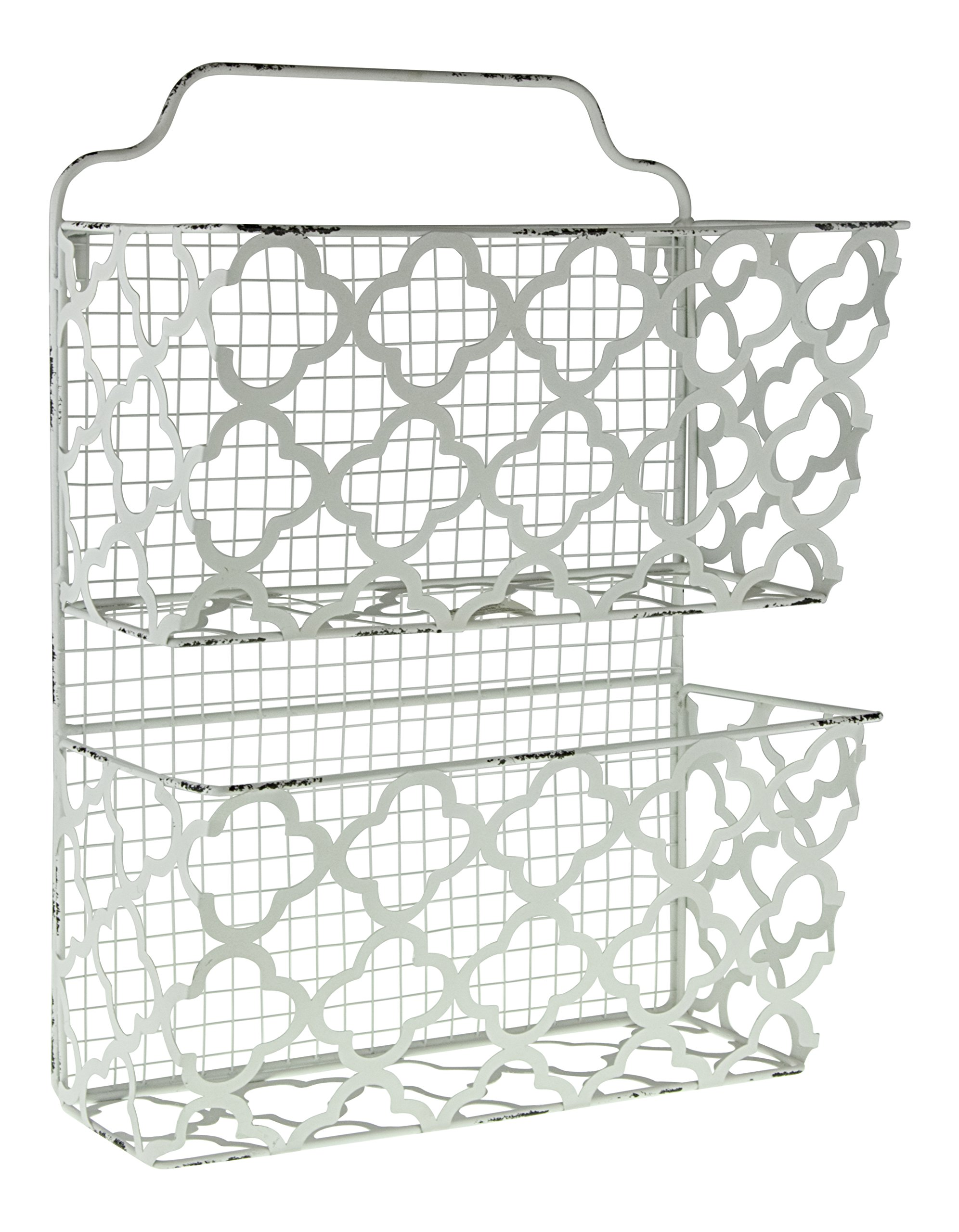 Decor Works – Two Tier Decorative Metal Wall Filing Bin – File Organizer – Magazine Rack – Mail Sorter – Hanging Storage – Shabby Chic – Vintage Inspired – Distressed – (White)