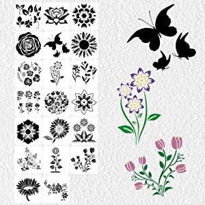 Futung Reusable Flower Stencils, 20PCS Stencils for Painting on Wood, Butterfly & Sunflower Floral DIY Art Paint Stencils for Drawing on Fabric, Canvas, Glass, Wall, Acrylic, Home Furniture Décor