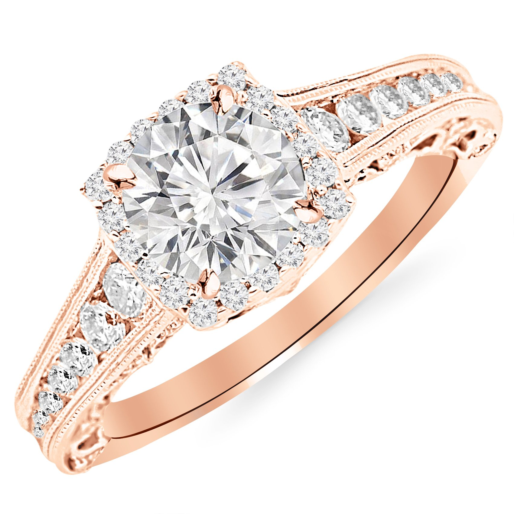 2.25 Carat 14K Rose Gold Vintage Halo Style Channel Set Round Brilliant Diamond Engagement Ring Milgrain with a 1.5 Carat Moissanite Center