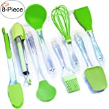Tiger Chef Kitchen Gadgets, 8-Piece Lime Green, Color Cooking and Baking Silicone Utensils Set - Includes Spatula, Whisk, Basting Brush, Tongs with Silicone Tips, Ladle, Serving Spoon BPA-Free