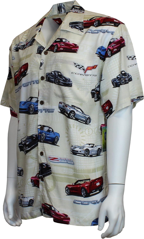 David Carey Corvette Camp Shirt Retro Inspired Button Up Collared Short Sleeve Tan Club Shirt