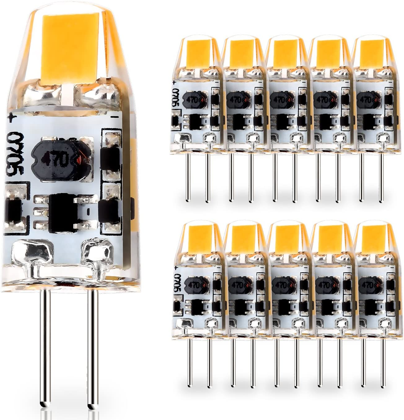 JAUHOFOGEI 10x 1W Mini Bombilla lámpara LED COB G4, 12-24V AC DC, Equivalente a 10W Halógena, 120lm, Blanco cálido 2800K, Ra83, Non-Regulable