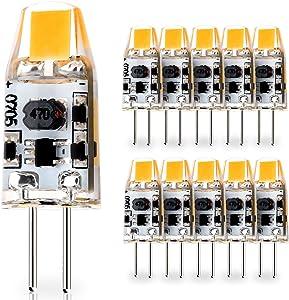 10-Pack G4 Base 1W LED Bulbs, 12V-24V AC / 10V-30V DC (RV, Vehicles, Caravan, motorhomes, Boats), 10W Glass Halogen Light Bulbs Replacement, Warm White 2700K, JC T3 Lamp for Under Cabinet Lighting