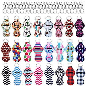 Duufin 24 Pieces Chapstick Holder Keychains Lipstick Holder Keychains with 24 Pieces Metal Clip Cords Suitable for Chapstick Tracker and Safeguard, 24 Vibrant Color, Medium