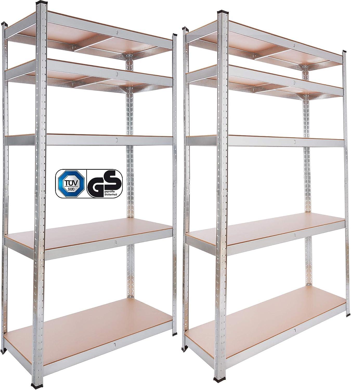 875 kg Arebos Lot de 2 /étag/ères de rangement pour cave 5 panneaux MDF 180 x 90 x 40 cm