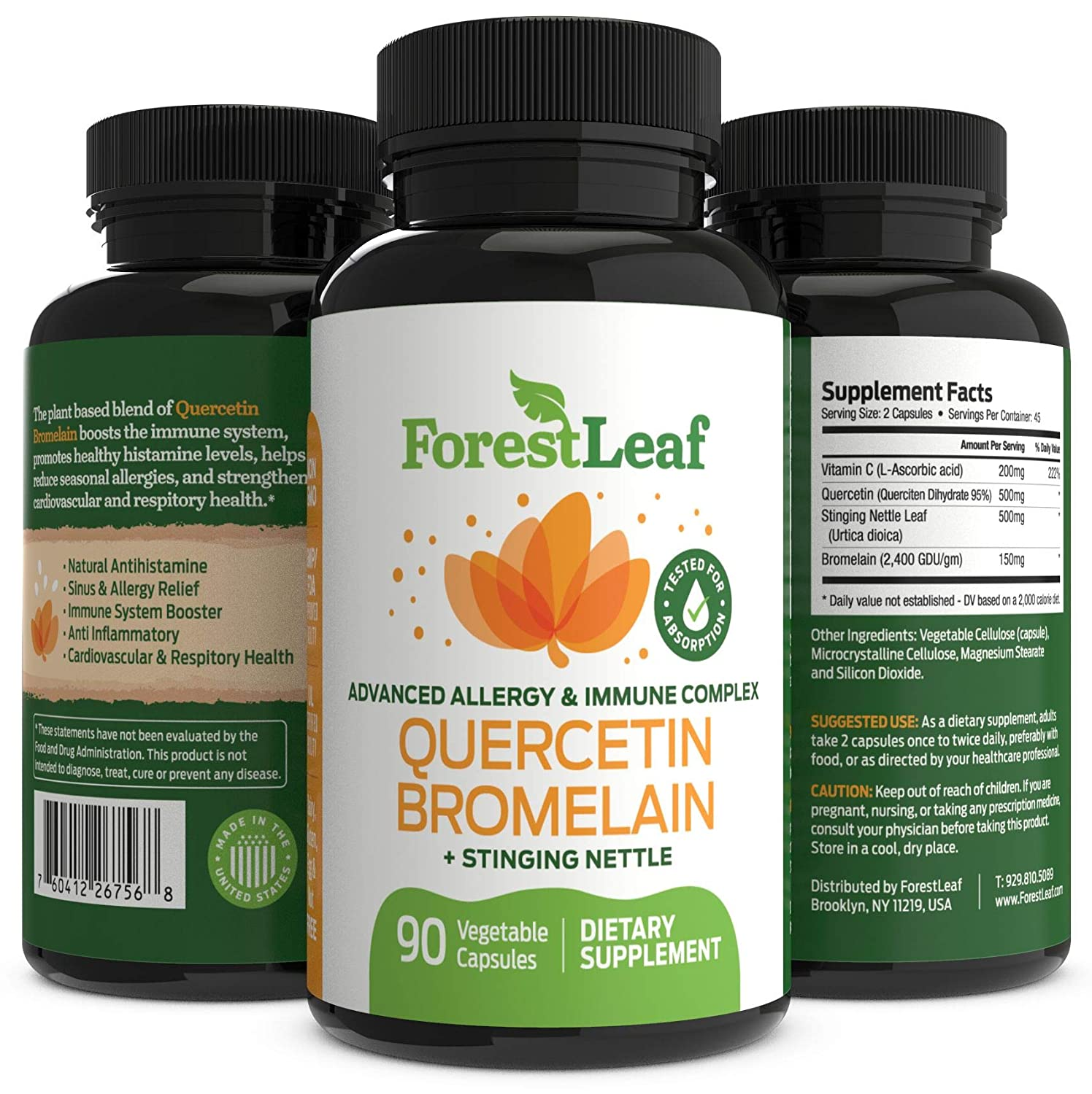 Advanced Sinus and Allergy Relief Supplement – Quercetin Bromelain with  Stinging Nettle – 90 Natural