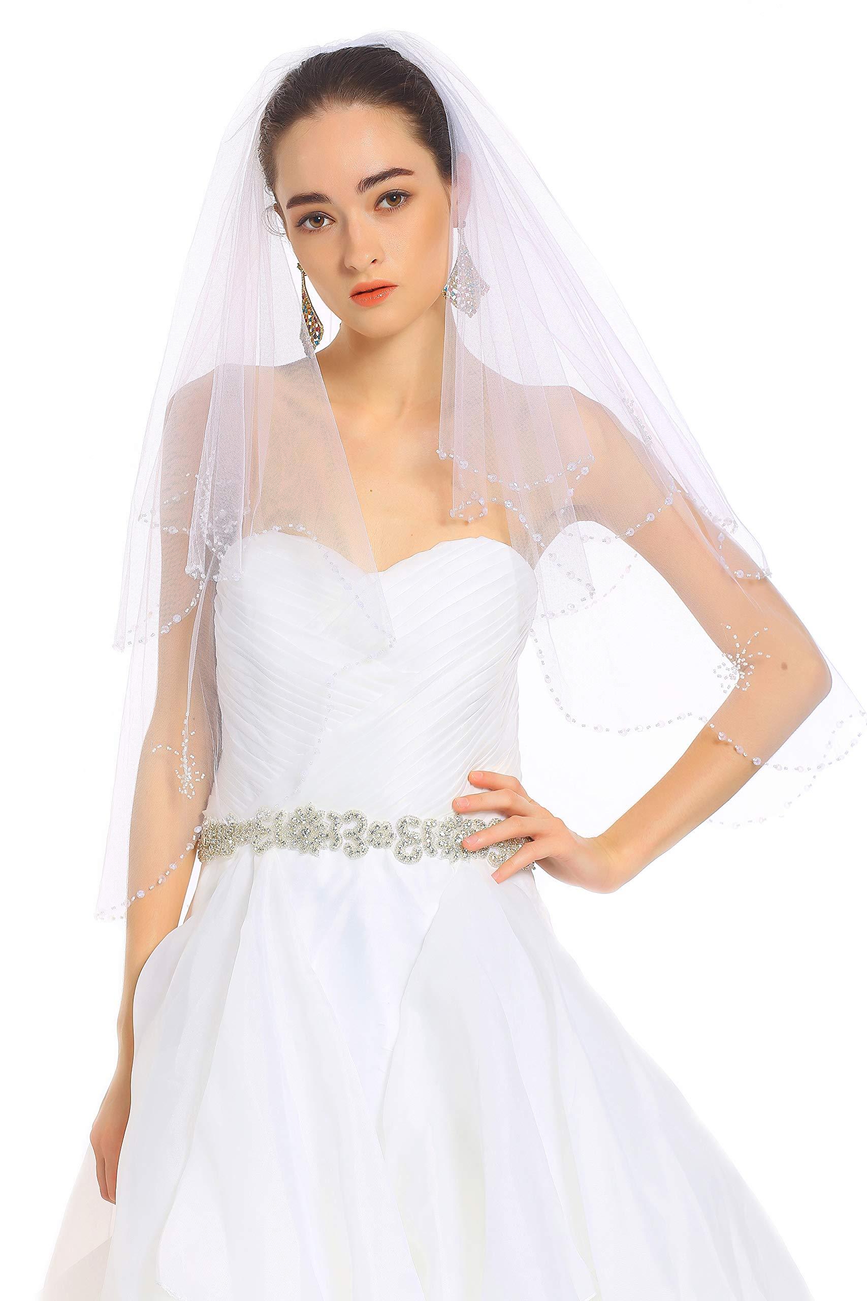 Passat Pale Ivory 2 Tiers Fingertip short vintage Wedding veils With Bling Sequin Beads veil for brides H14