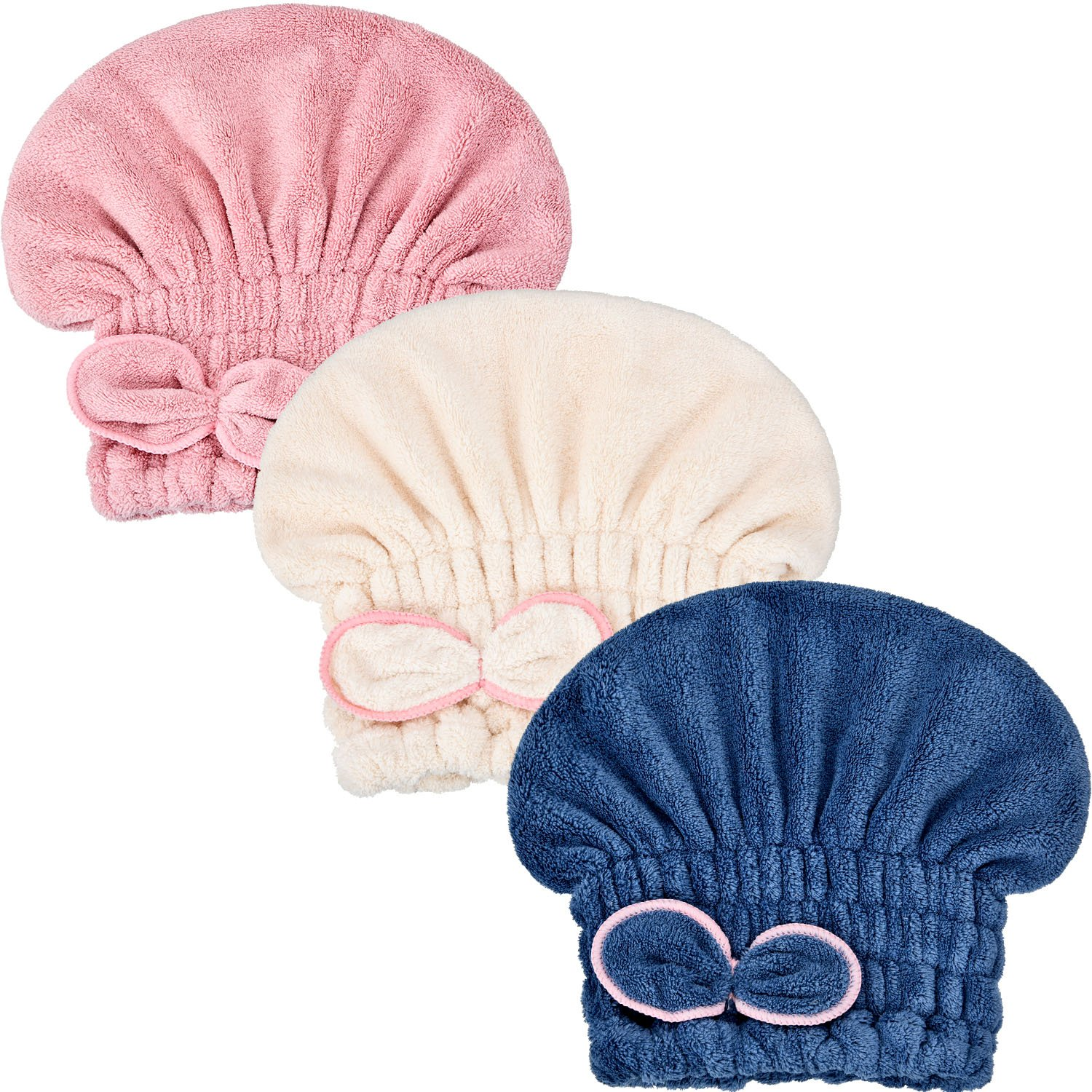Hestya 3 Pieces Absorbent Hair Drying Caps Quickly Dry Hair Towels Elastic Microfiber Bath Wraps for Girls and Women