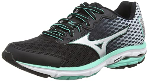 3708c4cfad9c Mizuno Wave Rider 18, Women's Running Shoes, Black (Black/Silver/Florida