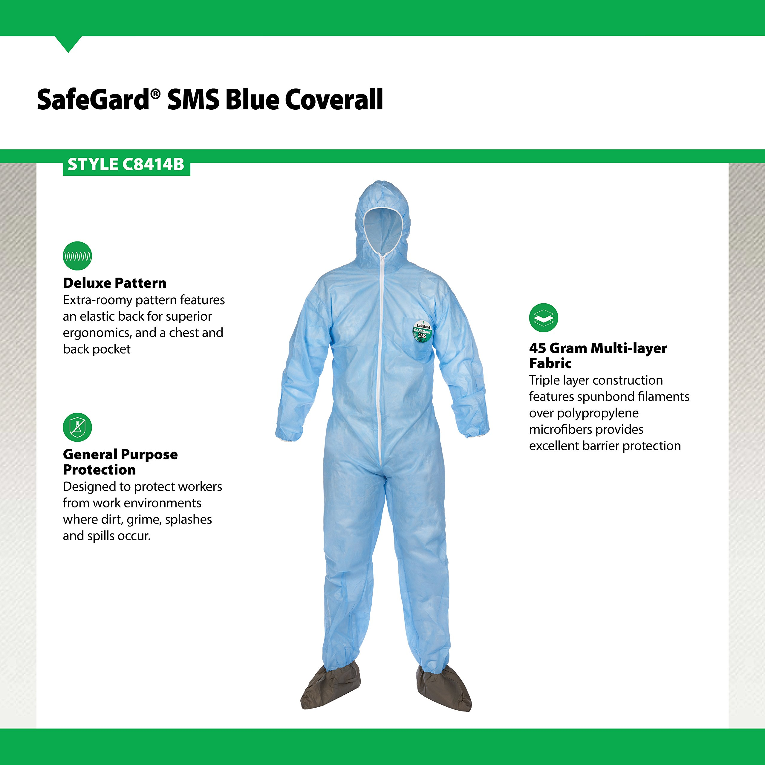 Lakeland SafeGard SMS Polypropylene Coverall with Hood and Boots, Disposable, Elastic Cuff, 2X-Large, Sky Blue (Case of 25) by Lakeland Industries Inc (Image #3)