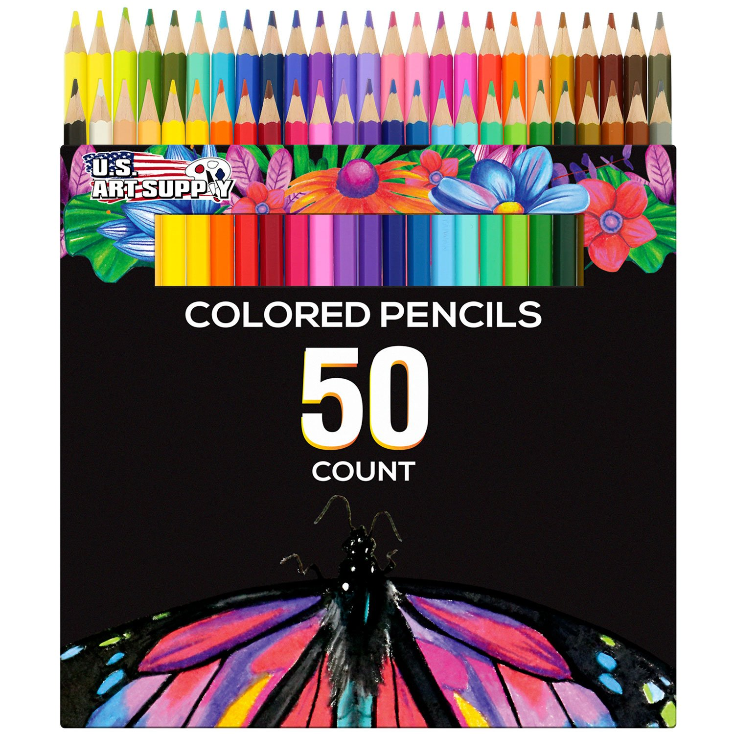 US Art Supply 50 Piece Adult Coloring Book Artist Grade Colored Pencil Set by US Art Supply (Image #1)