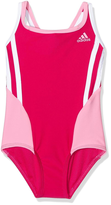 Adidas Bts 1Pc 3S Kg Costume da Bagno, Multicolore (Rosfue/Sebrro), 92 AY1525
