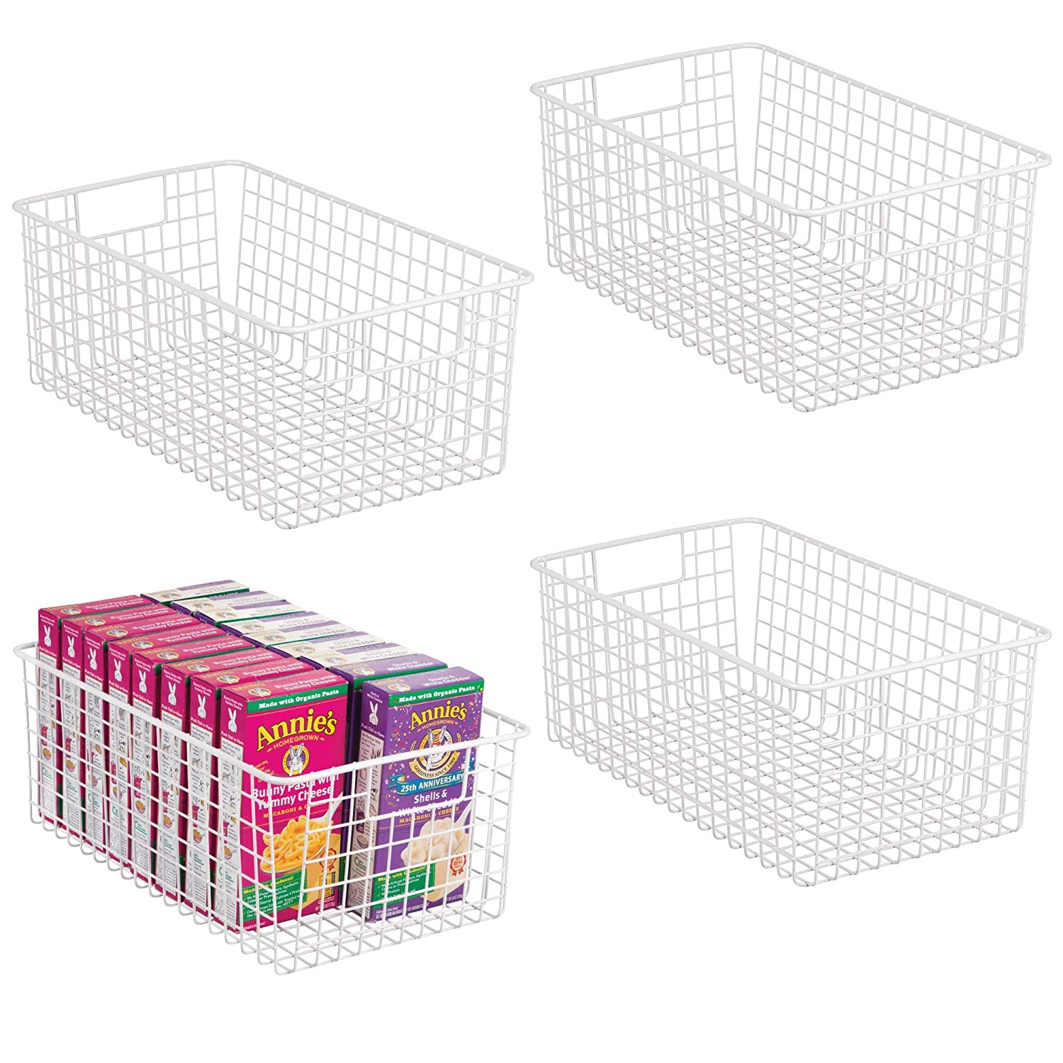 mDesign Farmhouse Decor Metal Wire Food Organizer Storage Bin Basket with Handles for Kitchen Cabinets, Pantry, Bathroom, Laundry Room, Closets, Garage - 16 x 9 x 6 in. - 4 Pack - Matte White