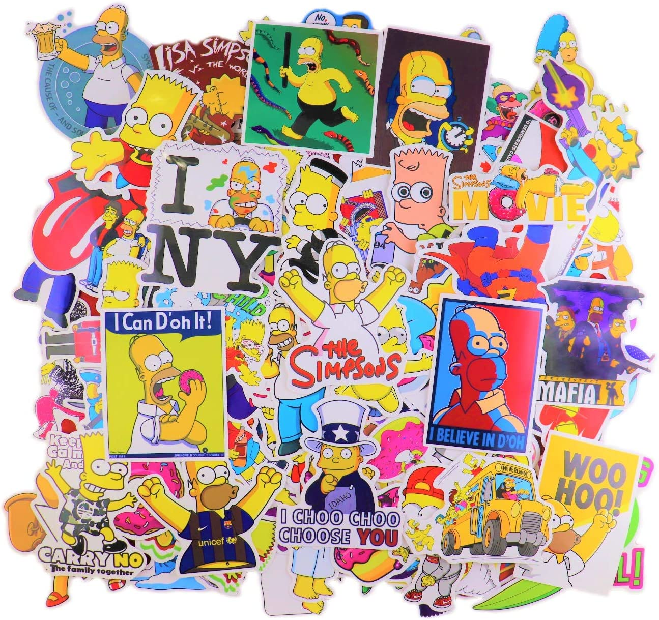 Amazon Com Laptop Sticker Pack 100pcs The Simpsons Merchandise Waterproof Vinyl Stickers For Water Bottles Laptop Kids Cars Motorcycle Bicycle Skateboard Luggage Bumper Stickers Hippie Decals Bomb Arts Crafts Sewing