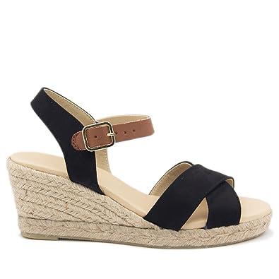 9e2787555d85aa Espadrilles Compensées Cuir: Amazon.fr: Chaussures et Sacs