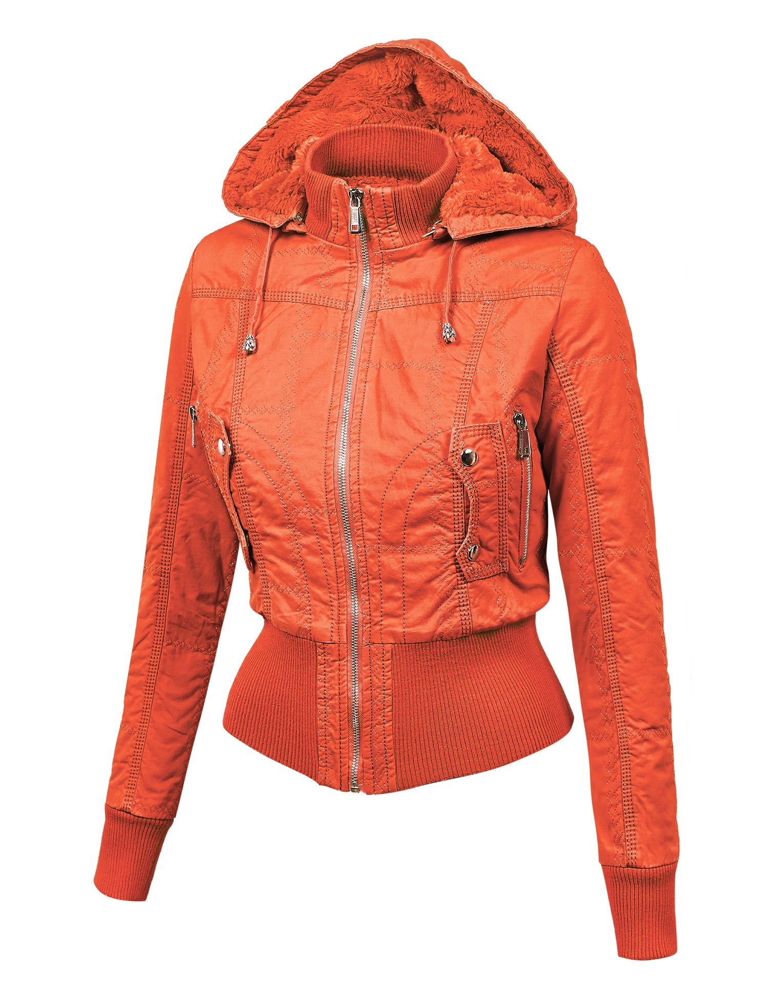 WJC1004 Womens Casual Inner Fleece Bomber Jacket with Removable Hoodie L CORAL by Lock and Love (Image #3)