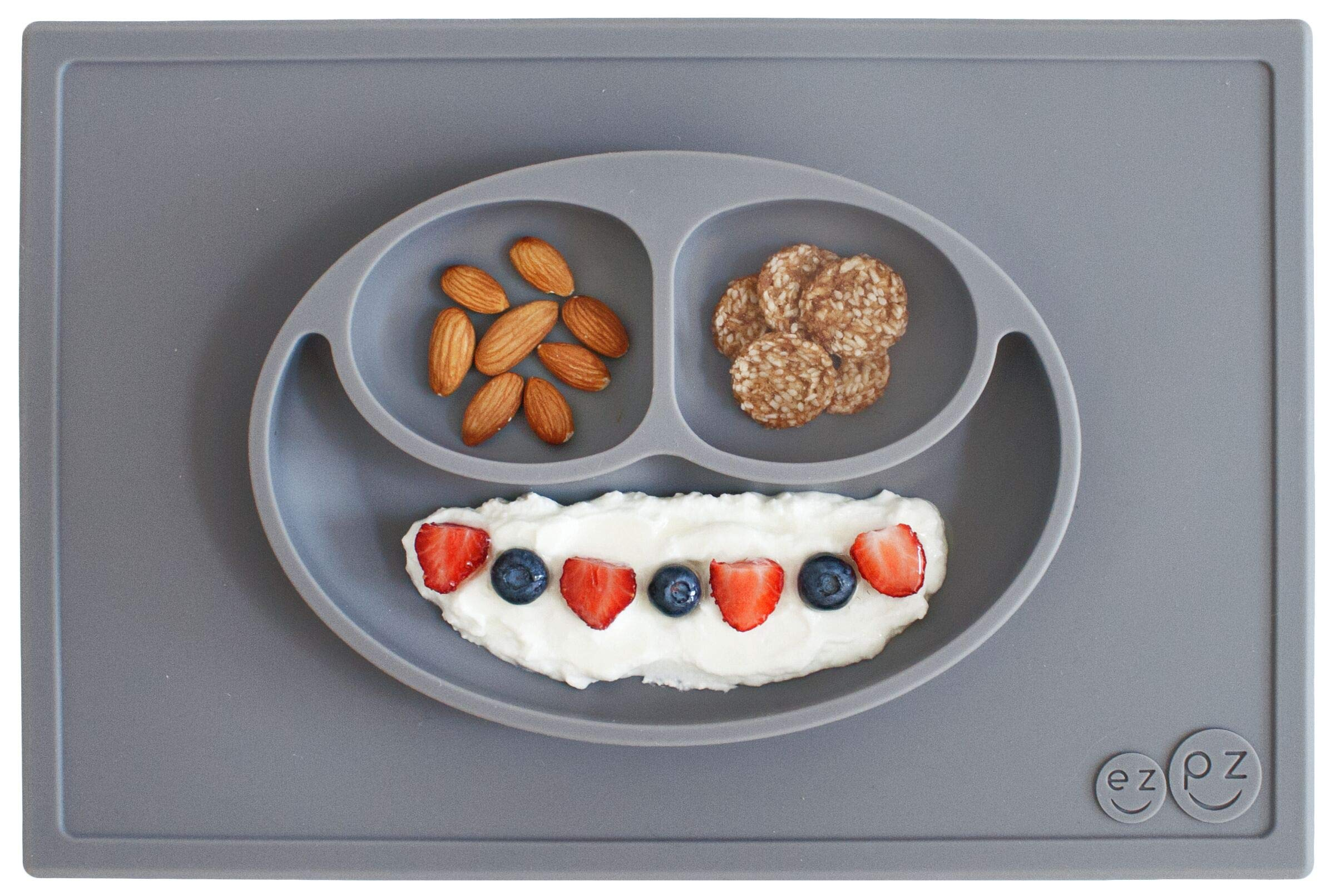 ezpz Happy Mat - One-Piece Silicone placemat + Plate (Gray) by ezpz
