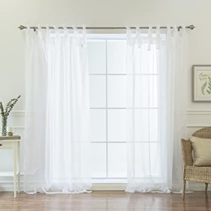 Ordinaire Best Home Fashion Sheer Voile Curtains   Tie Top   White   56u0026quot;W X